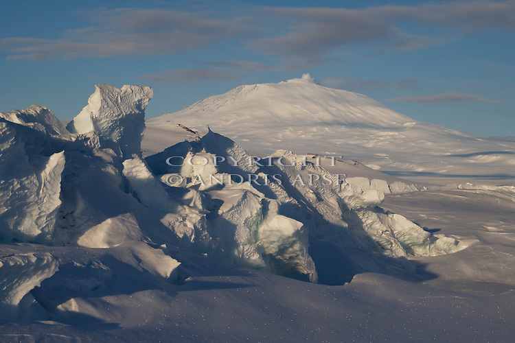 Pressure ridges in sea ice near Scott Base. Mount Erebus in Background. Ross Island. Antarctica.