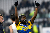 2nd February 2019, Allianz Stadium, Turin, Italy; Serie A football, Juventus versus Parma; Gervinho of Parma celebrates with the supporters after drawing 3-3 with Juventus