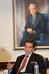 WATERBURY, CT-121817JS12---Jim Smith, Chairman and CEO of Webster Bank, sitting in front of a portrait of his father, Harold Webster Smith, talks about the bank's history as he prepares to retire at the first of the year. <br /> John Ciulla, current president of Webster Financial Corp., will succeed Smith starting January 1, 2018.<br /> Jim Shannon Republican-American