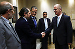 Palestinian Prime Minister, Rami Hamdallah, meets with Governor of the Central Bank of Jordan Ziad Fariz, in the West Bank city of Ramallah, on December 2, 2018. Photo by Prime Minister Office