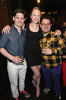 Patrick Lavis, Shakiera Sarai and James Stokes attend the Happy Groups Launch Party at the Luxe Lounge at Lucky Strike, on May 22 in New York City.
