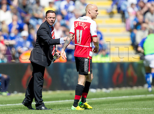 03.05.2014.  Leicester, England. Doncaster Rovers' manager Paul Dickov sends instructions onto the pitch during the FA Championship match between Leicester City and Doncaster Rovers at The King Power Stadium.