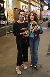 Laurie Metcalf and Bernadette Peters, with dogs from The Humane Society of New York, filming a promo for the Broadway Barks 2019 Announcement at Shubert Alley on June 20, 2019 in New York City.