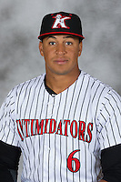 Kannapolis Intimidators outfielder Antonio Rodriguez (6) poses for a photo at Kannapolis Intimidators Stadium on April 5, 2016 in Kannapolis, North Carolina.  (Brian Westerholt/Four Seam Images)
