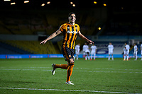 Hull City's Alfie Jones celebrates scoring the winning penalty<br /> <br /> Photographer Alex Dodd/CameraSport<br /> <br /> Carabao Cup Second Round Northern Section - Leeds United v Hull City -  Wednesday 16th September 2020 - Elland Road - Leeds<br />  <br /> World Copyright © 2020 CameraSport. All rights reserved. 43 Linden Ave. Countesthorpe. Leicester. England. LE8 5PG - Tel: +44 (0) 116 277 4147 - admin@camerasport.com - www.camerasport.com