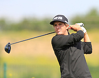 Nico Geyger (CHI) on the 1st tee during Round 1 of the Challenge de Madrid, a Challenge  Tour event in El Encin Golf Club, Madrid on Wednesday 22nd April 2015.<br /> Picture:  Thos Caffrey / www.golffile.ie