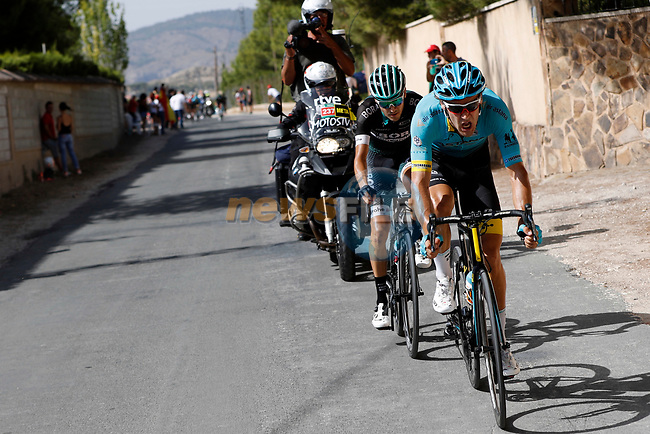 Laurens De Vreese (BEL) Astana and Emanuel Buchmann (GER) Bora-Hansgrohe attack from the breakaway group during Stage 8 of the 2017 La Vuelta, running 199.5km from Hell&iacute;n to Xorret de Cat&iacute;. Costa Blanca Interior, Spain. 26th August 2017.<br /> Picture: Unipublic/&copy;photogomezsport | Cyclefile<br /> <br /> <br /> All photos usage must carry mandatory copyright credit (&copy; Cyclefile | Unipublic/&copy;photogomezsport)
