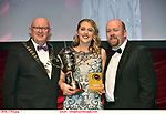 16-6-2019:  Leah Meagher- Cabaret-UCD Musical Society, Dublin winner of the Best Choreographer award at the annual AIMS (Association of Irish Musical Societies) in the INEC Killarney at the weekend receiving the trophy from Seamus Power, President, AIMS left and Rob Donnelly, Vice-President.<br /> Photo: Don MacMonagle - macmonagle.com<br /> <br /> repro free photo from AIMS<br /> <br /> AIMS PRESS RELEASE: There was plenty of glitz and glamour in Killarney on Saturday night as The Association of Irish Musical Societies has its Annual Awards Ceremony in Killarney. Over 1,500 people could be heard over the Kerry mountains as the winners were announced by MC Fergal D'Arcy. Many societies were double winners on the night including UCD Musical Society, Dublin were dancing all the way to the trophies winning Best Choreography and Best Choreographer for Leah Meagher for Cabaret and  Tullamore Musical Society who took their moment as Chris Corroon won Best Male Singer for his sinful performance as Henry Jekyll in Jekyll &Hyde and also Director Paul Norton who'd plenty to celebrate picking Best Director for  the same show. The moment was once again taken by Jekyll&Hyde by Dùn Laoighaire Musical&Dramatic Society as Kevin Hartnett took up Best Male Singer in the Sullivan category.Nenagh Youth Musical Society raised their voices high and took home Best Ensemble. It was a superior night for Enniscorthy Musical Society by winning Best Comedienne for Jennifer Byrne as Mother Superior and Best Technical too. Portlaoise Musical Society rose to the top by taking home Best Overall Show in the Gilbert section for their stunning production of Titanic. Oyster Lane Theatre Group, Wexford flew their flag high taking home Best Overall Show in the Sullivan Section for their breathtaking production of Michael Collins-a Musical Drama.<br /> Other winners on the night included Best Comedian for Ronan Walsh as Officer Lockstock in Urinetown for Trim Musical Society, Best Actress in a Supporting Role for  Roisin Lawless as Vi