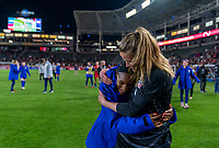 CARSON, CA - FEBRUARY 7: Crystal Dunn #19 and Alyssa Naeher #1 of the United States embrace during a game between Mexico and USWNT at Dignity Health Sports Park on February 7, 2020 in Carson, California.