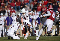 NWA Democrat-Gazette/CHARLIE KAIJO Mississippi State kicker Jace Christmann (47) kicks a field goal for a score, Saturday, November 2, 2019 during the first quarter of a football game at Donald W. Reynolds Razorback Stadium in Fayetteville. Visit nwadg.com/photos to see more photographs from the game.