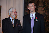 Moscow, Russia, 14/03/2011..Russian billionaire businessman Mikhail Prokhorov and ambassador Jean de Gliniasty after the ambassador awarded Prokhorov the Legion of Honour.