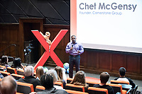 Chet McGensy '04, Founder, Cornerstone Group, talks about energy and diversity.<br /> Occidental College hosts TEDxOccidentalCollege on April 21, 2018 in Choi Auditorium of Johnson Hall. Students, faculty, alums and guest speakers delivered their TEDx Talk on the theme, Shifting Ecosystems of Power.<br /> (Photo by Marc Campos, Occidental College Photographer)
