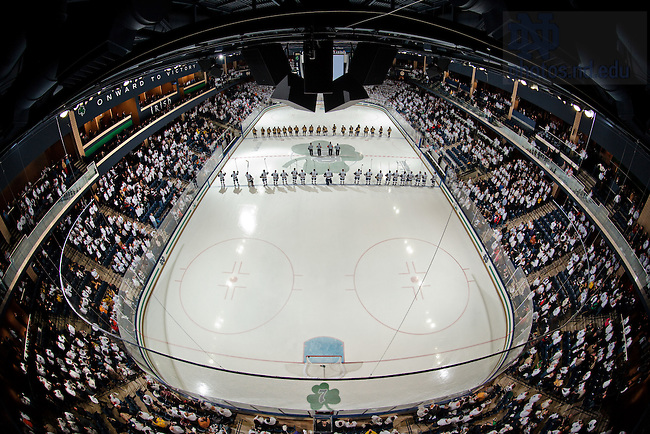 Jan. 20, 2012; Notre Dame and Michigan stand for the national anthem.