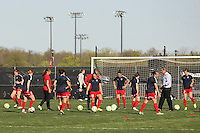 Piscataway, NJ, April 24, 2016.  The Washington Spirit goes through their pre-game warmups.  The Washington Spirit defeated Sky Blue FC 2-1 during a National Women's Soccer League (NWSL) match at Yurcak Field.
