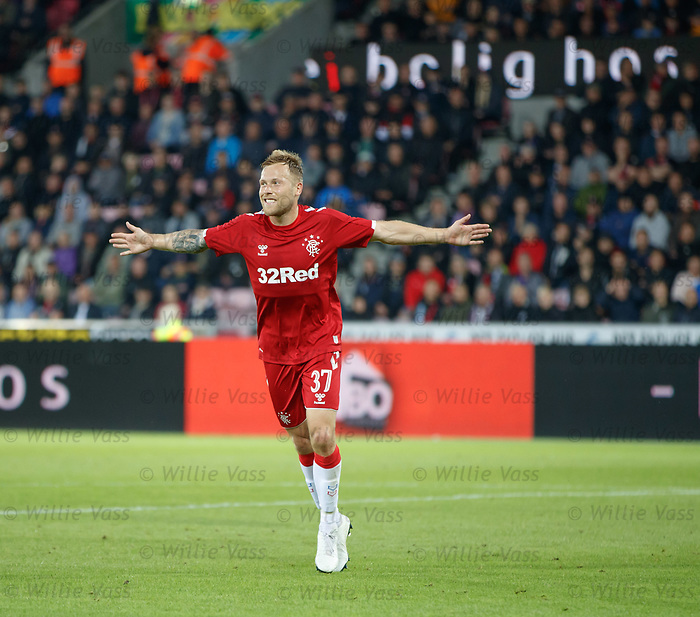 08.08.2019 FC Midtjylland v Rangers: Scott Arfield celebrates no 4 for Rangers