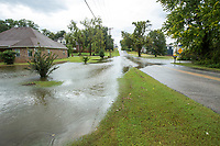 NWA Democrat-Gazette/BEN GOFF @NWABENGOFF<br /> Water floods over South Osage Road Sunday, Oct. 6, 2019, in Rogers.
