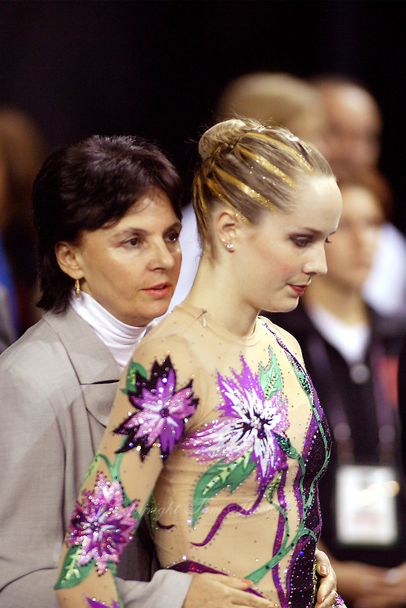 September 22, 2003; Budapest, Hungary; (R) Rhythmic gymnast MARY SANDERS of USA is prepared by coach Mimi Masleva  before performing at 2003 World Championships.