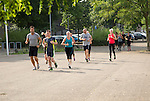 Group of people jogging, Maastricht, Limburg province, Netherlands,
