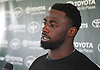 Marcus Maye #26 speaks with the media after a day of New York Jets Training Camp at the Atlantic Health Jets Training Center in Florham Park, NJ on Thursday, Aug. 3, 2017.
