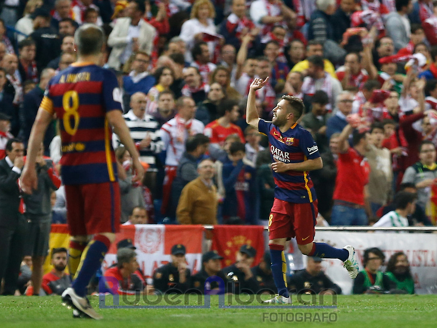 FC Barcelona´s  defense Gerard Pique celebrating during the Final of Copa del Rey match between FC Barcelona and SevillaFC at the Vicente Calderon Stadium in Madrid, Sunday, May 22, 2016.