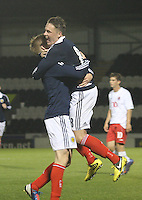 Stuart Ar,mstrong celebrates with Scott Allan (right) after his goal in the Scotland v Luxembourg UEFA Under 21 international qualifying match at St Mirren Park, Paisley on 6.9.12.