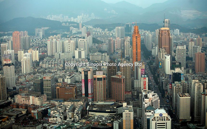 The city seen from above in Shenzhen, China...