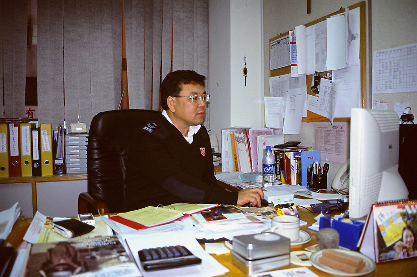 Simon Wong, director of Communication at the headquarters of the Salvation Army of Hong-kong, in his office.