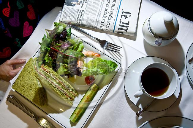 """PARIS - FRANCE - 08 MAY 2011 -- Paris travel city photos. -- Tea house """"Mariage Freres"""" Rue des Grands Augustins 13. A CLUB ETOILE, sandwiches au saumon fumé et crème d'aneth au pain au thé vert Matcha, mesclun et concombre au fromage frais. -- PHOTO: Juha ROININEN / EUP-IMAGES"""