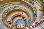 A tour of the Vatican Museum ends with a trip down the famous spiral steps.  (HDR image, in the Vatican Museum)