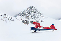 Bush plane on skis lands on Ruth glacier in the Alaska Range mountains, Mount Dickey in the background