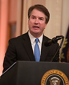 Associate Justice of the US Supreme Court Brett Kavanaugh makes remarks after taking the Judicial Oath during a ceremony in the East Room of the White House in Washington, DC on Monday, October 8, 2018.  Kavanaugh formally took the oath on Saturday, hours after he was confirmed by the US Senate.  <br /> Credit: Ron Sachs / CNP<br /> (RESTRICTION: NO New York or New Jersey Newspapers or newspapers within a 75 mile radius of New York City)