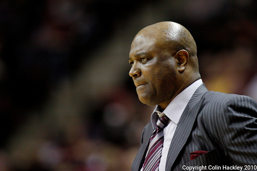 TALLAHASSEE, FL 2/6/10-FSU-MIAMI BB10 CH28-Florida State's Head Coach Leonard Hamilton monitors the  Miami game during second half action Saturday at the Donald L. Tucker Center in Tallahassee. The Seminoles beat the Hurricanes 71-65...COLIN HACKLEY PHOTO