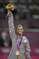 London, England - Thursday, August 2, 2012: USA's Gabrielle Douglas wins gold in the women's gymnastics individual all around at the London 2012 Summer, Olympic Games, North Greenwich Arena, London. .
