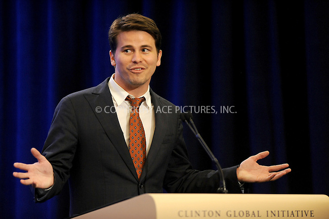 WWW.ACEPIXS.COM<br /> September 25, 2013...New York City<br /> <br /> Jason Ritter on stage during the annual Clinton Global Initiative (CGI) meeting on September 25, 2013 in New York City.<br /> <br /> Please byline: Kristin Callahan/Ace Pictures<br /> <br /> Ace Pictures, Inc: ..tel: (212) 243 8787 or (646) 769 0430..e-mail: info@acepixs.com..web: http://www.acepixs.com