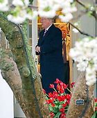 United States President Donald J. Trump is followed by National Security Advisor John Bolton as he departs the White House in Washington, DC on Monday, April 16, 2018.  The President is scheduled to go to Mar-a-Lago where he will meet Prime Minister Shinzo Abe of Japan later in the week.<br /> Credit: Ron Sachs / CNP