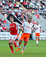 Blackpool's Nathan Delfouneso can't convert a chance under pressure from Rotherham United's Joe Mattock<br /> <br /> Photographer Alex Dodd/CameraSport<br /> <br /> The EFL Sky Bet League One - Rotherham United v Blackpool - Saturday 5th May 2018 - New York Stadium - Rotherham<br /> <br /> World Copyright &copy; 2018 CameraSport. All rights reserved. 43 Linden Ave. Countesthorpe. Leicester. England. LE8 5PG - Tel: +44 (0) 116 277 4147 - admin@camerasport.com - www.camerasport.com