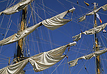 Furled sails on a square-rigged ship during a Tall Ships visit to Portland, Maine, USA on August 28, 2000.