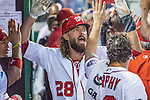 7 October 2016: Washington Nationals outfielder Jayson Werth celebrates scoring Washington's second run of the NLDS opening game against the Los Angeles Dodgers at Nationals Park in Washington, DC. The Dodgers edged out the Nationals 4-3 to take the first game of their best-of-five series. Mandatory Credit: Ed Wolfstein Photo *** RAW (NEF) Image File Available ***