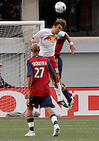 Youri Djorkaeff (10) wins a header from Carey Talley (3) as Douglas Sequiera (27) looks on in the New York Red Bulls vs. Real Salt Lake 1-1 tie at Rice Eccles Stadium in Salt Lake City, Utah April 15, 2006