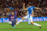League Santander 2017/2018. Game: 03.<br /> FC Barcelona vs RCD Espanyol: 5-0.<br /> Lionel Messi vs Victor Sanchez.