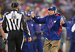 New York Giants Head Coach Tom Coughlin argues a call with Head Linesman Mark Hittner (28) during an NFC Championship NFL football game against the San Francisco 49ers on January 22, 2012 in San Francisco, California. The Giants won 20-17 in overtime. (AP Photo/David Stluka)