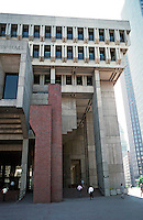Boston:  City Hall--West side.  Plaza entrance.  Brutal style. Kallman, McKinnell & Knowles, 1968.   Photo '88.