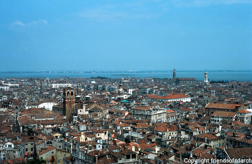 Venice:  View  from the Campanile--looking NE toward lagoon ,  Murano, etc.  Photo '83.