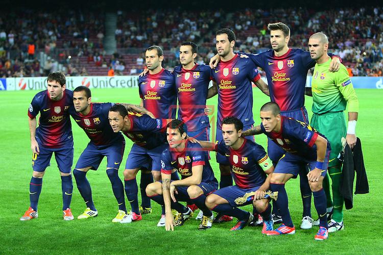 FC Barcelona team. FC Barcelona vs FC Spartak Moskva: 3-2 - Champions League 2012/13-Game: 1