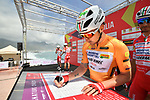 Maglia Arancione Manuel Belletti (ITA) Androni Giocattoli-Sidermec at sign on before the start of Stage 4 of Il Giro di Sicilia 2019 running 119km from Giardini Naxos to Mount Etna (Nicolosi), Italy. 6th April 2019.<br /> Picture: LaPresse/Massimo Paolone | Cyclefile<br /> <br /> All photos usage must carry mandatory copyright credit (&copy; Cyclefile | LaPresse/Massimo Paolone)