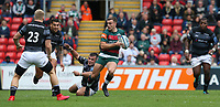 Leicester Tigers' George Ford evades the tackle from Newcastle Falcons' George McGuigan <br /> <br /> Photographer Stephen White/CameraSport<br /> <br /> Gallagher Premiership Round 2 - Leicester Tigers v Newcastle Falcons - Saturday September 8th 2018 - Welford Road - Leicester<br /> <br /> World Copyright &copy; 2018 CameraSport. All rights reserved. 43 Linden Ave. Countesthorpe. Leicester. England. LE8 5PG - Tel: +44 (0) 116 277 4147 - admin@camerasport.com - www.camerasport.com