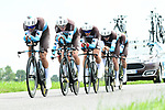 AG2R La Mondiale in full flight during Stage 3 of the 2018 Criterium du Dauphine 2018 a Team Time Trial running 35km from Pont de Vaux to Louhans Chateaurenaud, France. 6th June 2018.<br /> Picture: ASO/Alex Broadway | Cyclefile<br /> <br /> <br /> All photos usage must carry mandatory copyright credit (&copy; Cyclefile | ASO/Alex Broadway)