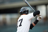Bruce Steel (17) of the Wake Forest Demon Deacons at bat against the Furman Paladins at BB&T BallPark on March 2, 2019 in Charlotte, North Carolina. The Demon Deacons defeated the Paladins 13-7. (Brian Westerholt/Four Seam Images)