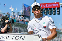 March 25, 2018: Lewis Hamilton (GBR) #44 from the Mercedes AMG Petronas Motorsport team waves to the crowd during the drivers' parade at the 2018 Australian Formula One Grand Prix at Albert Park, Melbourne, Australia. Photo Sydney Low