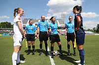 Cary, North Carolina  - Saturday June 03, 2017: Pregame Coin Flip with (from left) Becky Sauerbrunn, Maggie Short, Christopher Spivey, Christina Unkel, Alicia Messer, and Abby Erceg prior to a regular season National Women's Soccer League (NWSL) match between the North Carolina Courage and the FC Kansas City at Sahlen's Stadium at WakeMed Soccer Park. The Courage won the game 2-0.